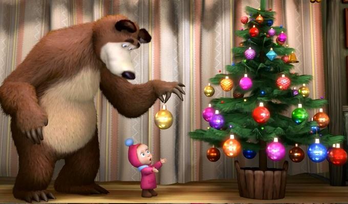 новогодние картинки маша и медведь