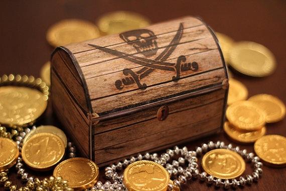 Сундук с сокровищами на пиратский день рождения
