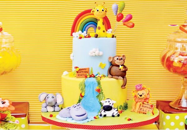 Торт с животными на детский день рождения