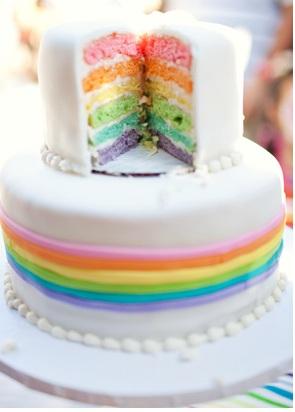 Красочный детский торт-радуга